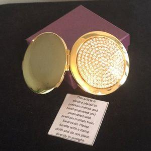 Swarovski makeup compact new in box gold tone